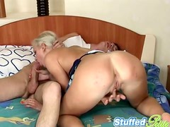 Eva sucks a prick and gets her snatch pounded from behind