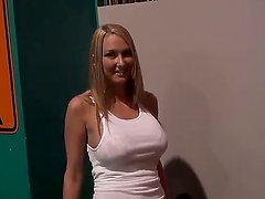 Gorgeous blonde chick with massive tits notices two hard dicks poking through glory