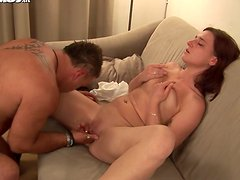 Tattooed stud pleases pussy of one adorable young brunette