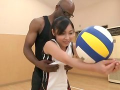 Black Volleyball Coach Banging the Japanese Girl's Tight Pussy