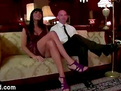 Tranny toys and fucks ass of guy on sofa in living room