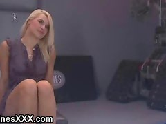 Busty restrained blonde nipples suctioned and machine fucked