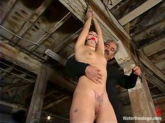 Slender Maya Matthews gets punished by two guys