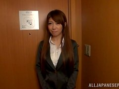 Hot Japanese office girl sucks a cock and a sausage