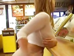Avril flashing in the burger shop