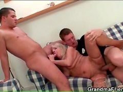 Hairy blonde mature pussy fucked in threesome