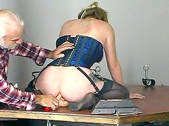 Slutty gal being fucked in BDSM