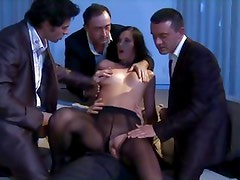 Hot horny group sex with brunette babe