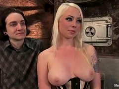 Blonde in Corset Lorelei Lee Spanking and Torturing Guy in Pillory