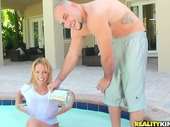 Trixie the hot blonde with big tits rides big dick in a backyard