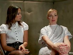 Adrianna Nicole and Amber Rayne play lesbian BDSM games in a basement