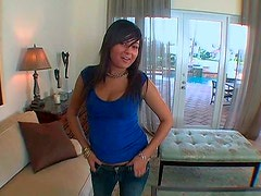 Spoiled Latin teen demonstrates her ample body in raunchy lingerie