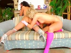 Hilarious and weird booty lesbos polish holes with huge dildos on the couch