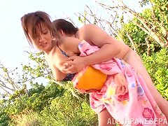 Outdoor sex with a traditional Japanese woman