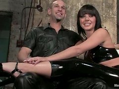 Sexy Brunette Penny Flame Strapon Fucks Tied Up Dude in Bondage Femdom