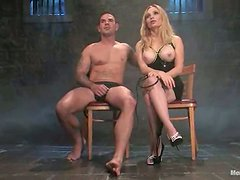 Aiden Starr torments Daac Ramsey and fucks his ass with a toy