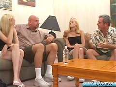 Horny blonde twins get fucked by two older men