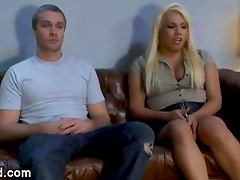 Blonde shemale made guy to suck her dick and fucks him in office