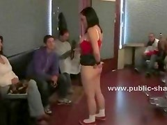 Chubby brunette exposes her big ass in a barber shop and gets all of her holes stretched