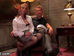 Brunette tranny fucks handcuffed guy to a bed frame