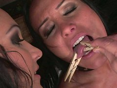 Fuckable brunette harlow gets her body pinned with pegs