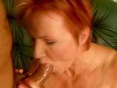 Ugly red haired ofl whore Magdolna sucks a tasty lollicock for sperm