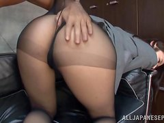 Enjoying the Asian Secretary's Big Tits and Pussy in the Office