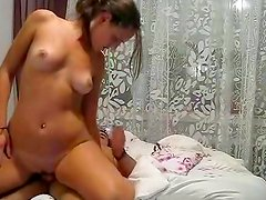 Brunette girlfriend doing the best blowjob to her man
