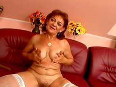 Messy red-haired granny get fuck up in missionary style