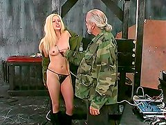 Nasty blonde gets nailed in BDSM