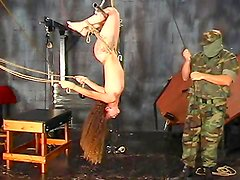 Curly babe getting punished in BDSM