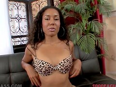 Black Leah Luxxx gives a blowjob in interracial video