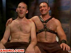 BDSM Master in Leather Spanks and Humiliates a Young Gay Slave