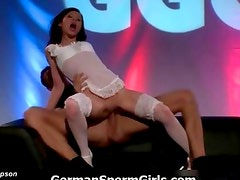 Nasty brunette whore going crazy getting