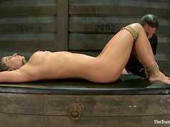 Hot Ariel X gets clothespinned and toyed hard in her wet pussy