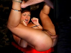 Brunette submissive get pounded in the dark