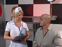 Blonde chick in sexy nurse uniform gets fucked deep in the ass