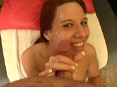 Cum-addicted redhead sucks her lover's dick for precious cum