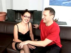 Seductive librarian in tempting black lingerie is sucking hard dick deepthroat