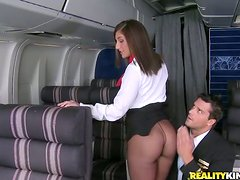 Hot Brunette Stewardess And Her Captain