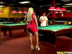 Amateur Lady With Fake Tits Fucking On Pool Table