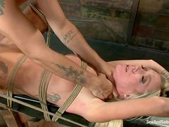 Maia Davis gets choked and fucked by Mr. Pete in BDSM clip
