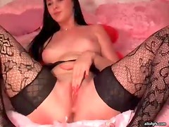 Lace stockings look sexy on webcam beauty