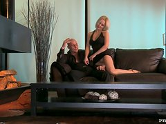 Hot blonde gets fucked from behind and licks the dick clean