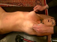 Tied up girl gets her pussy toyed and tits pinched
