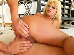 Tempting long haired blonde Defrancesca with natural boobies and french manicure in stripper shoes gets