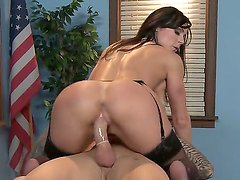 Kendra rides this fella reverse cowgirl style, but not before giving him one of the best tit-jobs