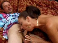 Frisky brunette milf Vanessa Vidal gives her head and demonstrates perfect sucking skills