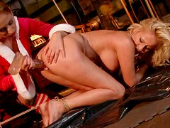 Cruel mistress drills her slave's pussy with a dildo in hot BDSM scene