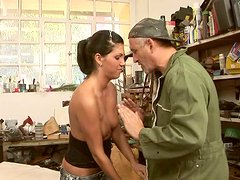 Lascivious brunette whore gets her anus fucked by horny mechanic